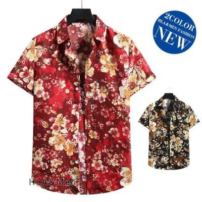 メンズ花柄シャツカジュアルシャツ半袖旅行アロハシャツ夏トップス30代サマーおしゃれ