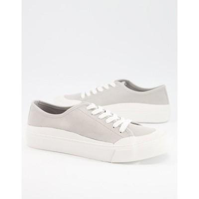 エイソス メンズ スニーカー シューズ ASOS DESIGN lace up sneaker in gray faux suede Grey