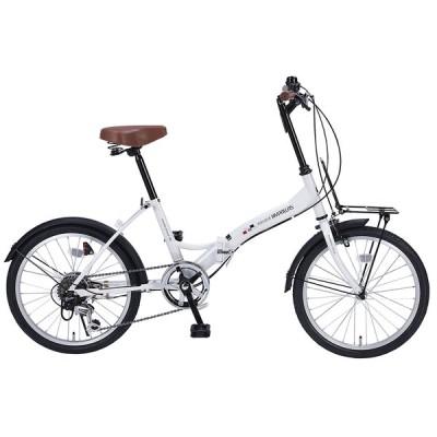 【新品】【送料無料!】IKESHO 池商 MYPALLAS 折畳自転車 20インチ 6段変速 フロントキャリア付き ホワイト M-205N(W)【本州配送限定】