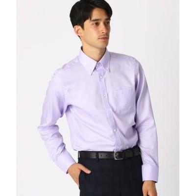 COMME CA ISM/コムサイズム 《イージーケア・抗菌防臭加工》 オックス ボタンダウンカラーシャツ ライラック XS