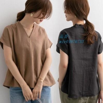 Tシャツ 半袖Tシャツ リネン 40代 40代 オシャレ 着痩せ 春夏 ゆったりブラウス 体型カバーカジュアルTシャツ レディース Vネック キレイめ 無地