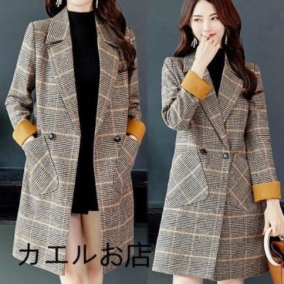 コート レディース チェスターコート ロングコート チェック柄 ポケット付き テーラードジャケット ゆったり 韓国風 春秋  40代 ジャケット