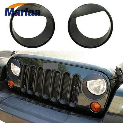 送料無料 カー用品 ヘッドライト 怒っている目黒ベゼルはフロントライトヘッドライトトリムカバーabs用ジープラングラーアクセサリールビコンサハラjk