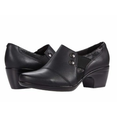クラークス レディース ヒール シューズ Emily Beales Black Leather/Synthetic Combination
