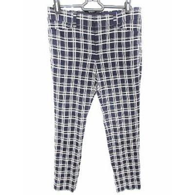 【中古】アンタイトル UNTITLED パンツ テーパード チェック 1 紺色 ネイビー /AAO4 レディース