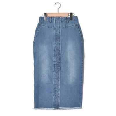 【ダブルクローゼット】 前ステッチタイトスカート レディース ブルー FREE w closet