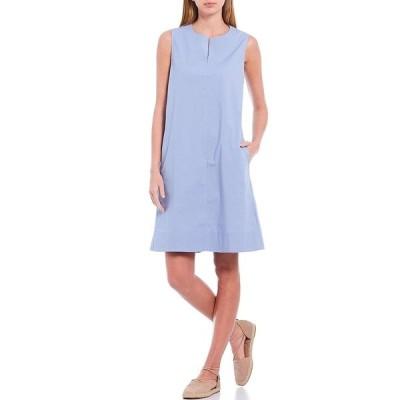 エイリーンフィッシャー レディース ワンピース トップス Organic Cotton Stretch Poplin Zip Neck Sleeveless A-Line Dress Larkspur