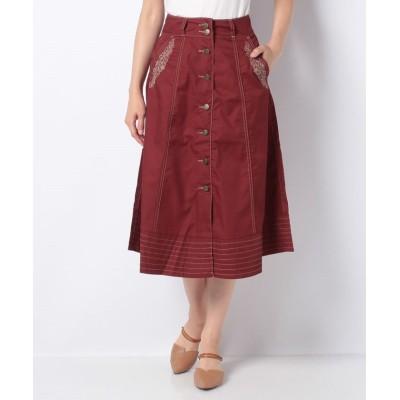 (axes femme/アクシーズファム)前釦刺繍入ミドルスカート/レディース 赤