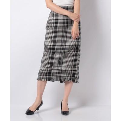 INTERPLANET ツイード風BIGチェックタイトスカート(ブラック)【返品不可商品】