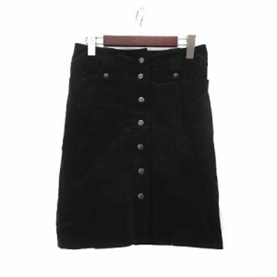 【中古】ボッシュ BOSCH スカート 36 S 黒 ブラック ベルベット フロントボタン 台形 美品 レディース