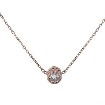 大特価品 K10PG ピンクゴールド ネックレス ダイヤモンド 1粒 華奢 デザイン 40.5cm【新品仕上済】【el】【中古】