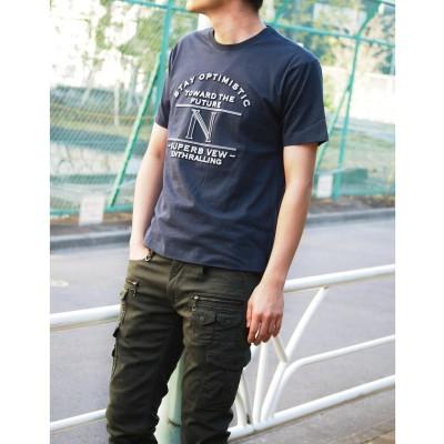 【ニコルクラブフォーメン】 ロゴプリントTシャツ メンズ 67ネイビー 48(L) NICOLE CLUB FOR MEN