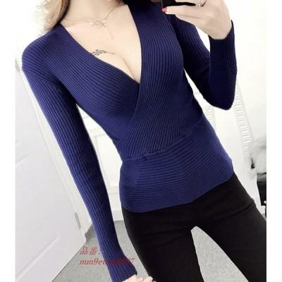 新ファッション女性プルオーバーセーター女性 セクシーなクロス V ネックニットセーター グループ上 レディース衣服 から プルオーバー 中