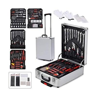 工具セット Tool Box with Tools 499 Pieces Household Tool Set with Aluminum Trolley Case, Auto Repair Tool Kit Toolbox And Wheels
