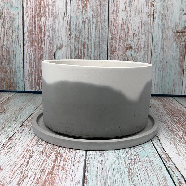 (BEAGLE) 雙色直徑:20CM圓型水泥花盆托盤 多肉水泥花器/仙人掌水泥花盆/水泥植栽/水泥盆器