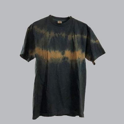 藍と柿渋染めの横段絞りTシャツ