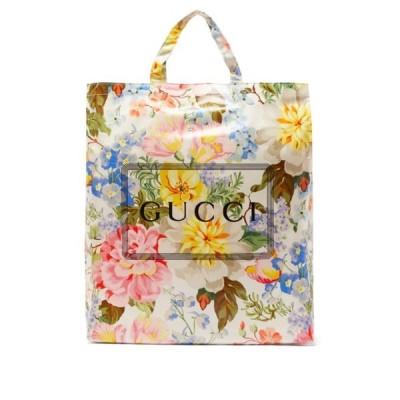グッチ Gucci レディース トートバッグ バッグ Floral-print coated-cotton tote bag Beige