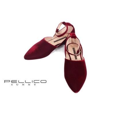65%OFF 新品 ペリーコサニー PELLICOSUNNY 靴 35 ES60-a 22.5cm ワインレッド  レディース パンプス ベルベット ストラップ 低ヒール