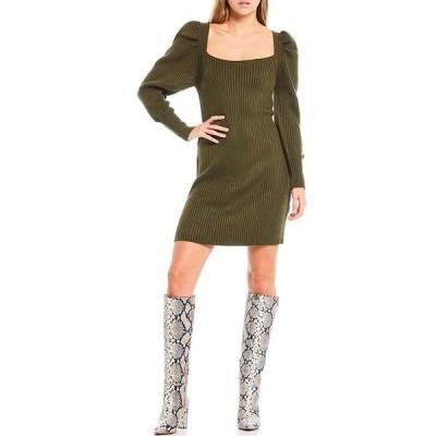 ワイフ レディース ワンピース トップス Square Neck Puff Sleeve Tie Back Sweater Dress Olive