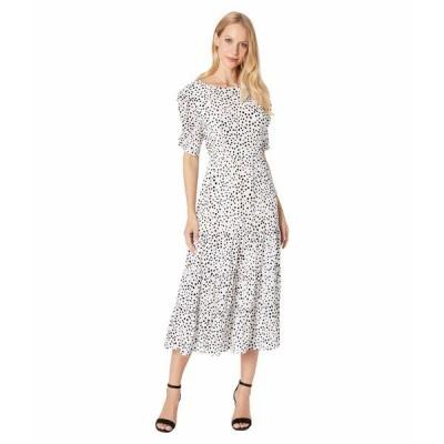 ビービーダコタ ワンピース トップス レディース Something About Dots Flocked Dot Tiered Midi Dress Ivory