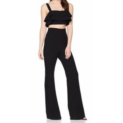ファッション ジャンプスーツ BLACK HALO Womens Jumpsuit Black Size 0 Ruffled High-Waist Cutout