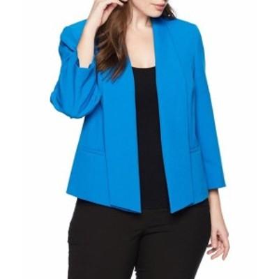 Imperial インペリアル ファッション 衣類 Kasper NEW Blue Imperial Womens Size 24W Plus Open Front Lapel Jacket