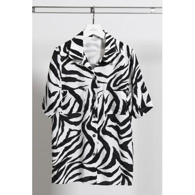 MAISON SPECIAL メゾンスペシャル ゼブラプリントオープンカラーシャツ レディース BLK(ブラック) FREE