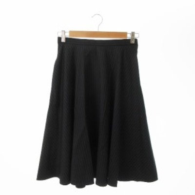 【中古】アーバンリサーチ URBAN RESEARCH スカート フレア ロング ミモレ ストライプ 38 黒 ブラック レディース