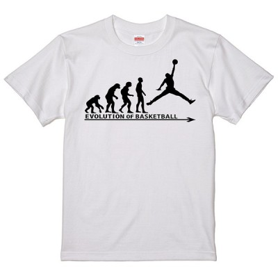 進化 EVOLUTION Tシャツ バスケットボール バスケットマン バスケ ライトベージュに変更可