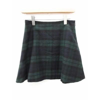 【中古】プラージュ Plage スカート ミニ フレア チェック 36 緑 グリーン 紺 ネイビー /OG5 レディース