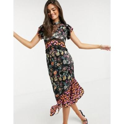 フォーエバーユニーク ミディドレス レディース Forever Unique asymmetric mix & match dress in floral  エイソス ASOS sale