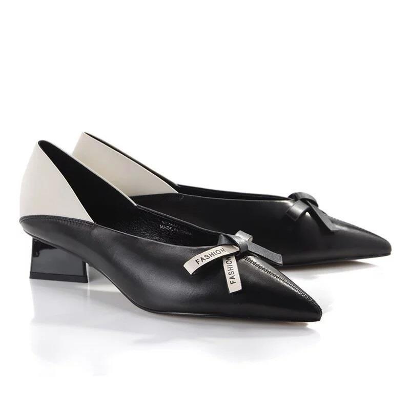 Keeley Ann 極簡魅力 撞色尖頭造型跟包鞋.黑色