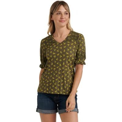 ラッキーブランド Lucky Brand レディース ブラウス・シャツ Vネック トップス Puff Sleeve V-Neck Embroidered Top Olive Multi