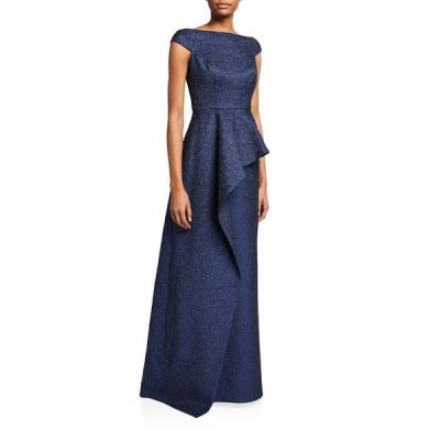 テリージョン レディース ワンピース トップス Metallic Jacquard Cap-Sleeve Asymmetric Peplum Gown