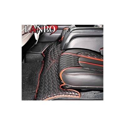 【M's】トヨタ ハイエース 200系 1-4型(標準ボディー)LANBO製 エンジンフードカバー TYPE LUXE (ブラック×レッド×レッドステッチ)