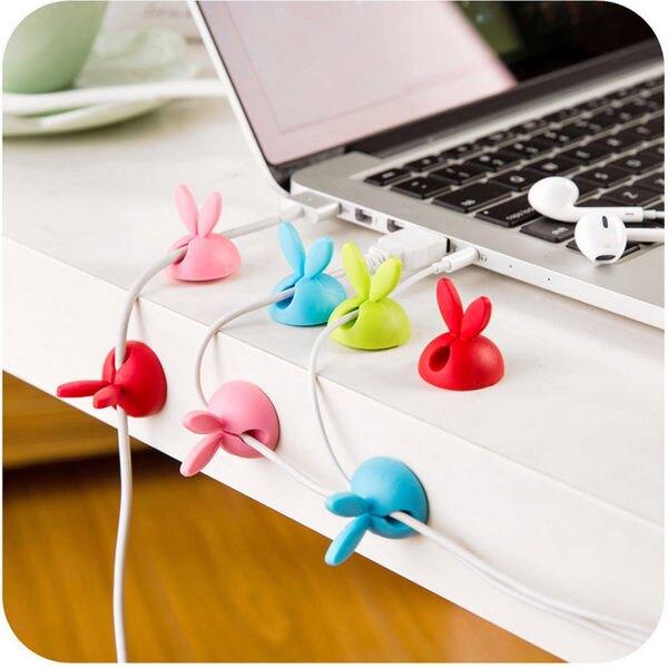 萌兔耳朵固線器 桌面收納 捲線 固線器 貼 矽膠 理線 韓版 多彩 一組四入 ♚MY COLOR♚【M020】