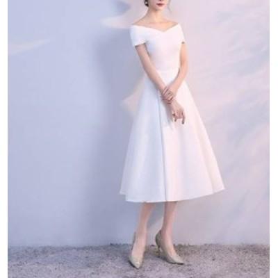 パーティードレス フレア オフショルダー 3色 Aライン ミディ丈 無地 エレガント フェミニン シック ドレス 結婚式 お呼ばれ ワンピース