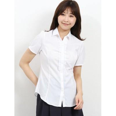【タカキュー】 形態安定レギュラーカラー スキッパーギャザーフリル半袖シャツ レディース ホワイト S TAKA-Q