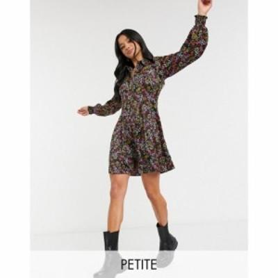 ヴェロモーダ Vero Moda Petite レディース ワンピース シャツワンピース ワンピース・ドレス Mini Shirt Dress In Black Floral マルチ