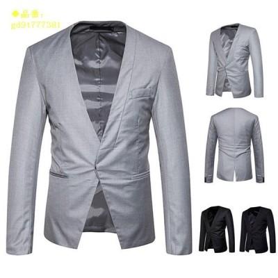 テーラードジャケット メンズ ブレザー 結婚式 紳士服 カジュアルコート 上着 アウター ノーカラー 通勤