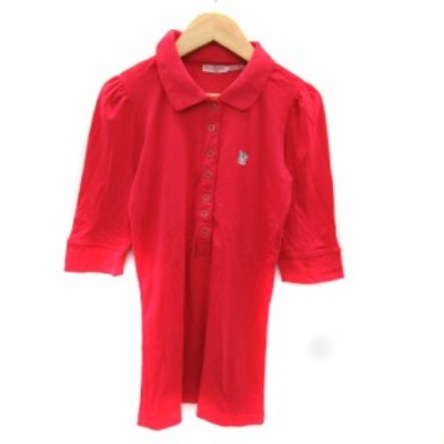 【中古】ジューシークチュール JUICY COUTURE ポロシャツ 五分袖 ポロカラー ロゴ S レッド /YK25 レディース