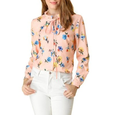 レディース 衣類 トップス Allegra K Women's Tie Ruffled Neckline Polka Dots Floral Blouse Tops XS Pink ブラウス&シャツ