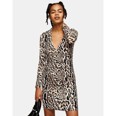 トップショップ Topshop レディース ワンピース ミニ丈 ワンピース・ドレス Ruched Front Mini Dress In Leopard Print マルチカラー