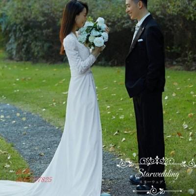 ウエディングドレス ロングドレス リゾートウェディング 前撮り 長袖 エンパイア 二次会 発表会 トレーン ブライダル 成人禮 成人式 ワンピース 花嫁 お呼ばれ
