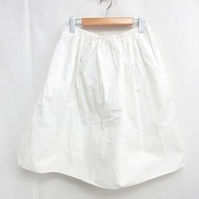 【中古】クロエ CHLOE 膝丈 スカート ギャザー バックリボン コットン フレア ホワイト 白 34 0224 レディース
