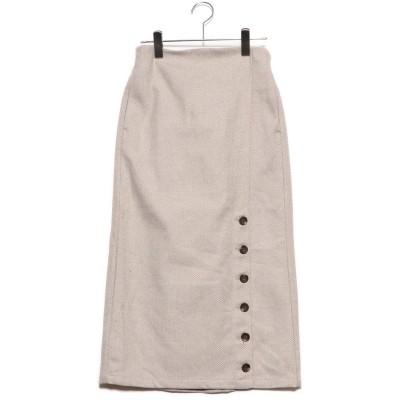 スタイルブロック STYLEBLOCK ツイードヘリンボーンタイトスカート (ベージュ)