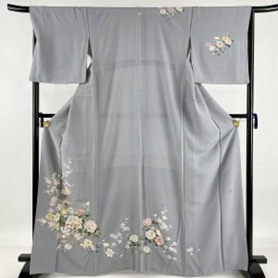 訪問着 美品 名品 落款 一つ紋 花篭 牡丹 灰色 袷 身丈167cm 裄丈67cm M 正絹 中古