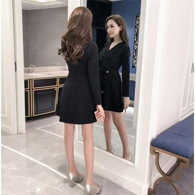 安いのに高く見える 2019 新作 気質 Aライン  Vネック 気高い ファッション カジュアル スリム 半袖 大きいサイズ 百掛け カレッジ風 小さな黒いドレス