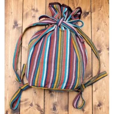 ネパールゲリのバックパック レインボーストライプ / リュックサック ファッション インド バッグ かばん ポーチ エスニック アジア