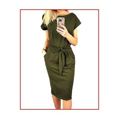 【新品】PRETTYGARDEN Women's 2020 Casual Short Sleeve Party Bodycon Sheath Belted Dress with Pockets Army Green【並行輸入品】